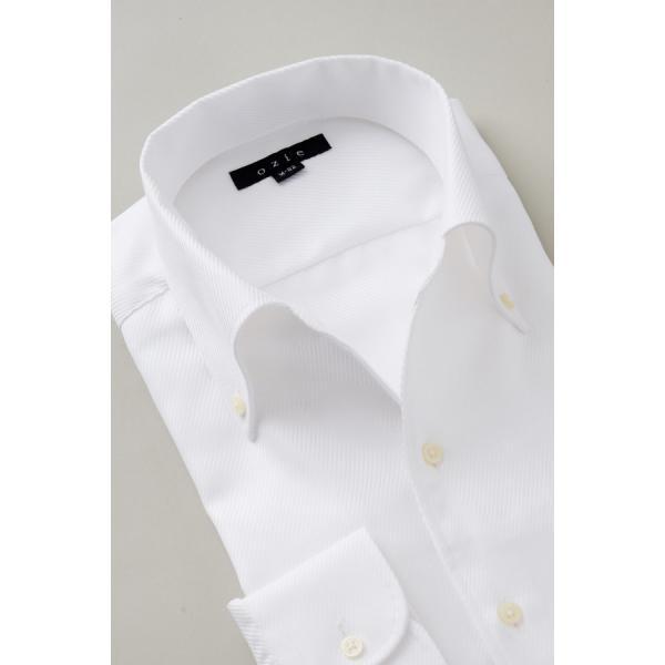 イタリアンカラー シャツ メンズ ワイシャツ ボタンダウン 長袖 ホワイト 白 スリム プレミアムコットン 形態安定 Yシャツ ビジネスシャツ おしゃれ|ozie|02