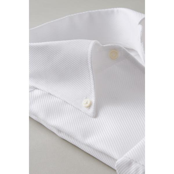 イタリアンカラー シャツ メンズ ワイシャツ ボタンダウン 長袖 ホワイト 白 スリム プレミアムコットン 形態安定 Yシャツ ビジネスシャツ おしゃれ|ozie|03