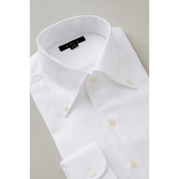 イタリアンカラー シャツ メンズ ワイシャツ ボタンダウン 長袖 ホワイト 白 スリム プレミアムコットン 形態安定 Yシャツ ビジネスシャツ おしゃれ|ozie|04