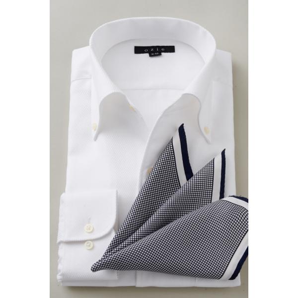 イタリアンカラー シャツ メンズ ワイシャツ ボタンダウン 長袖 ホワイト 白 スリム プレミアムコットン 形態安定 Yシャツ ビジネスシャツ おしゃれ|ozie|07