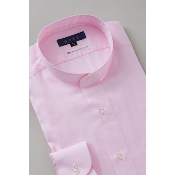 スタンドカラーシャツ メンズ 長袖 綿100% ワイシャツ ドレスシャツ レギュラーフィット オックスフォード Yシャツ 無地 大きいサイズ おしゃれ 日本製 ピンク|ozie|04