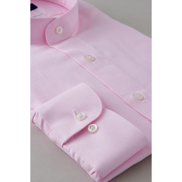 スタンドカラーシャツ メンズ 長袖 綿100% ワイシャツ ドレスシャツ レギュラーフィット オックスフォード Yシャツ 無地 大きいサイズ おしゃれ 日本製 ピンク|ozie|05