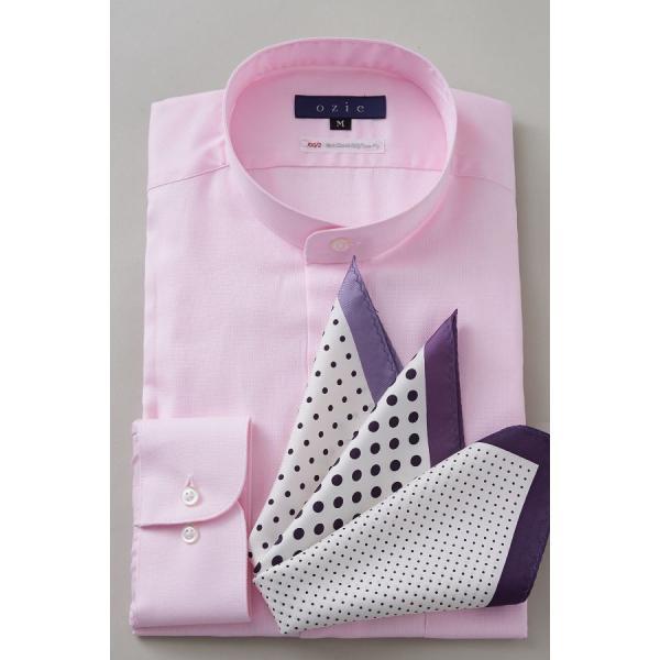 スタンドカラーシャツ メンズ 長袖 綿100% ワイシャツ ドレスシャツ レギュラーフィット オックスフォード Yシャツ 無地 大きいサイズ おしゃれ 日本製 ピンク|ozie|07