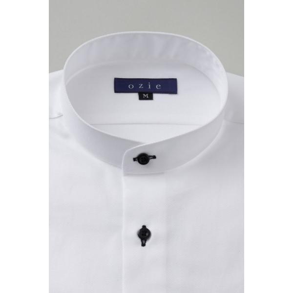 スタンドカラーシャツ メンズ 長袖 ホワイト 白 綿100% ワイシャツ ドレスシャツ レギュラーフィット イージーケア Yシャツ 無地 大きいサイズ おしゃれ 日本製|ozie|02