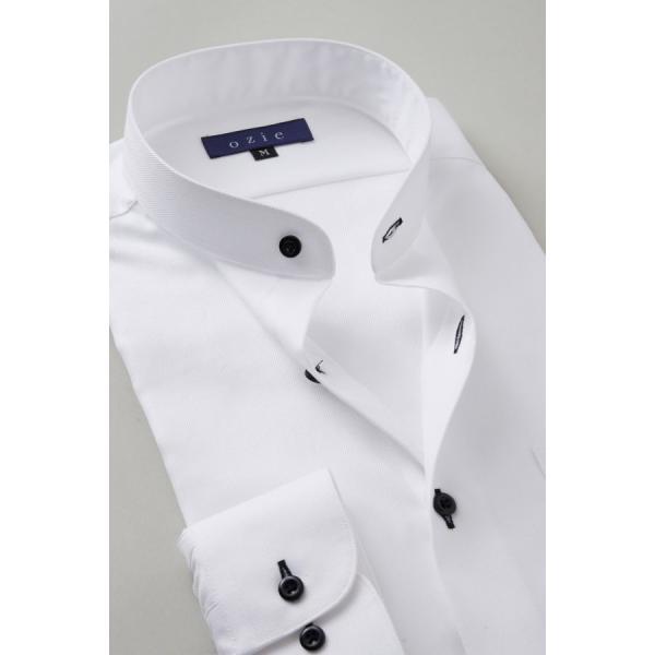 スタンドカラーシャツ メンズ 長袖 ホワイト 白 綿100% ワイシャツ ドレスシャツ レギュラーフィット イージーケア Yシャツ 無地 大きいサイズ おしゃれ 日本製|ozie|03