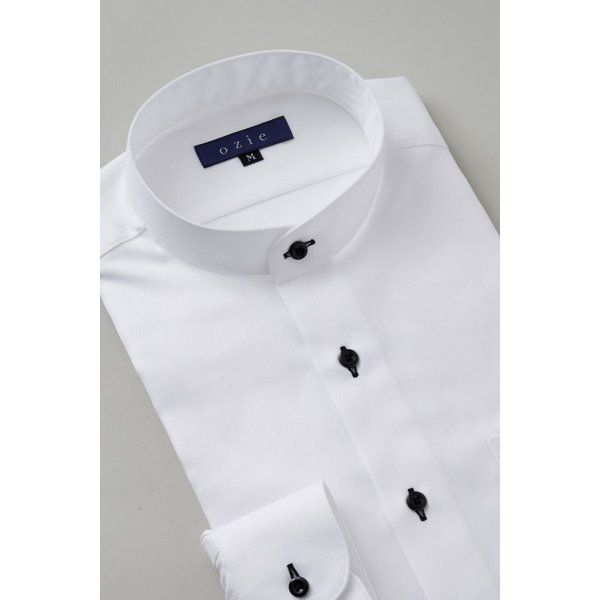 スタンドカラーシャツ メンズ 長袖 ホワイト 白 綿100% ワイシャツ ドレスシャツ レギュラーフィット イージーケア Yシャツ 無地 大きいサイズ おしゃれ 日本製|ozie|04