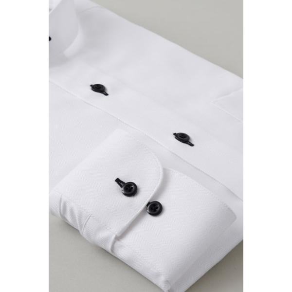 スタンドカラーシャツ メンズ 長袖 ホワイト 白 綿100% ワイシャツ ドレスシャツ レギュラーフィット イージーケア Yシャツ 無地 大きいサイズ おしゃれ 日本製|ozie|05