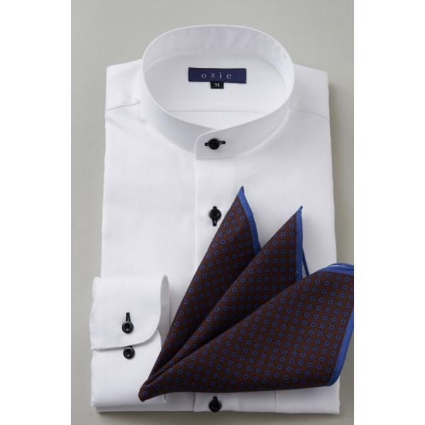 スタンドカラーシャツ メンズ 長袖 ホワイト 白 綿100% ワイシャツ ドレスシャツ レギュラーフィット イージーケア Yシャツ 無地 大きいサイズ おしゃれ 日本製|ozie|07