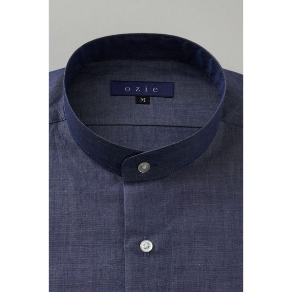 スタンドカラーシャツ メンズ 長袖 インディゴ  綿麻混 100番手 プレミアムコットン ワイシャツ ドレスシャツ レギュラーフィット 日本製 Yシャツ 大きいサイズ ozie 02