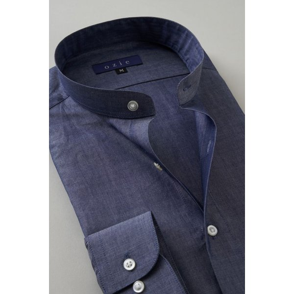 スタンドカラーシャツ メンズ 長袖 インディゴ  綿麻混 100番手 プレミアムコットン ワイシャツ ドレスシャツ レギュラーフィット 日本製 Yシャツ 大きいサイズ ozie 03