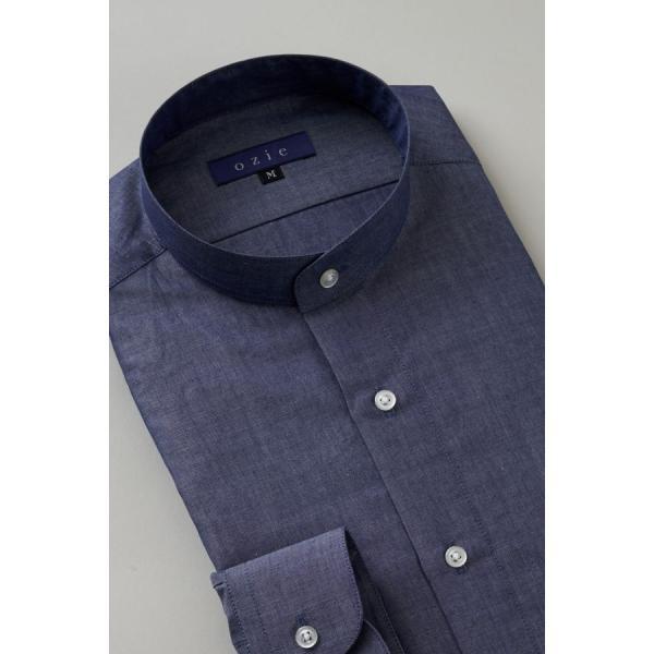 スタンドカラーシャツ メンズ 長袖 インディゴ  綿麻混 100番手 プレミアムコットン ワイシャツ ドレスシャツ レギュラーフィット 日本製 Yシャツ 大きいサイズ ozie 04