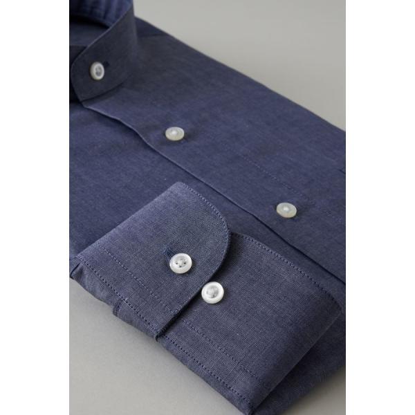 スタンドカラーシャツ メンズ 長袖 インディゴ  綿麻混 100番手 プレミアムコットン ワイシャツ ドレスシャツ レギュラーフィット 日本製 Yシャツ 大きいサイズ ozie 05