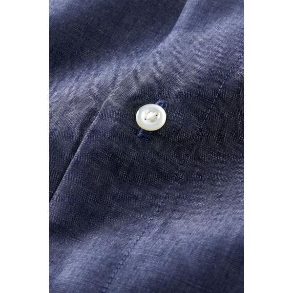 スタンドカラーシャツ メンズ 長袖 インディゴ  綿麻混 100番手 プレミアムコットン ワイシャツ ドレスシャツ レギュラーフィット 日本製 Yシャツ 大きいサイズ ozie 06