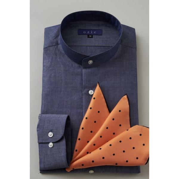 スタンドカラーシャツ メンズ 長袖 インディゴ  綿麻混 100番手 プレミアムコットン ワイシャツ ドレスシャツ レギュラーフィット 日本製 Yシャツ 大きいサイズ ozie 07