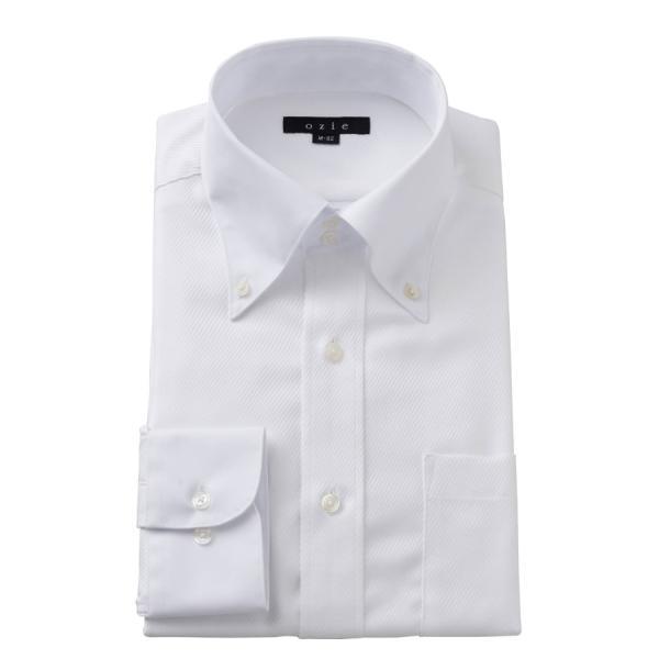 ワイシャツ メンズ 長袖 白シャツ スリム ドゥエボットーニ ボタンダウン クレリックシャツ 綿100% Yシャツ ビジネスシャツ ドレスシャツ おしゃれ ホワイト|ozie
