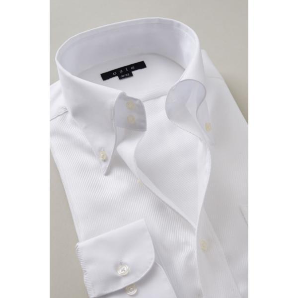 ワイシャツ メンズ 長袖 白シャツ スリム ドゥエボットーニ ボタンダウン クレリックシャツ 綿100% Yシャツ ビジネスシャツ ドレスシャツ おしゃれ ホワイト|ozie|03