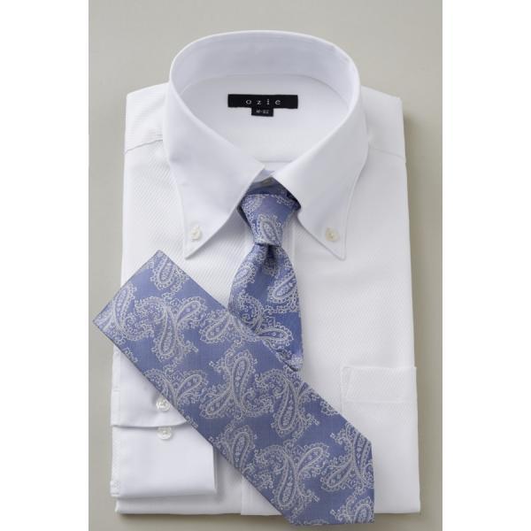 ワイシャツ メンズ 長袖 白シャツ スリム ドゥエボットーニ ボタンダウン クレリックシャツ 綿100% Yシャツ ビジネスシャツ ドレスシャツ おしゃれ ホワイト|ozie|07