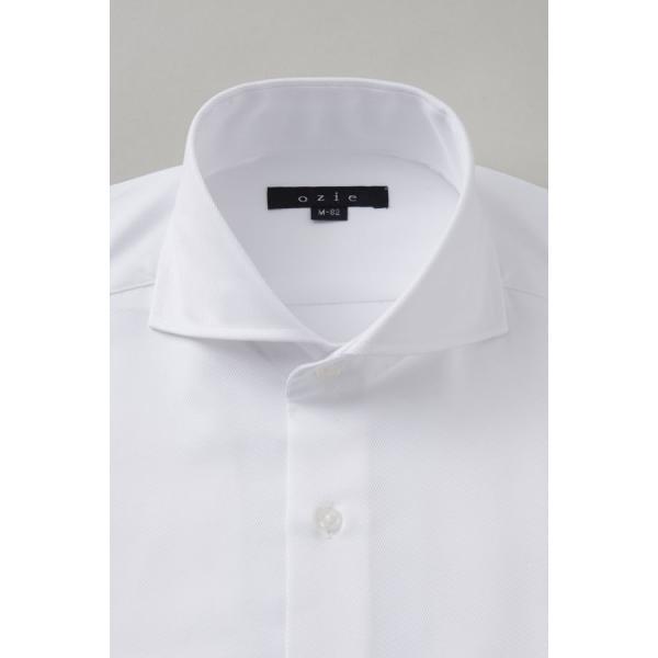 ホリゾンタルカラー ワイシャツ クールマックス スーパードライ スリム ブルー 青 カッタウェイ メンズ 長袖 形態安定 ドレスシャツ ビジネスシャツ おしゃれ|ozie|02