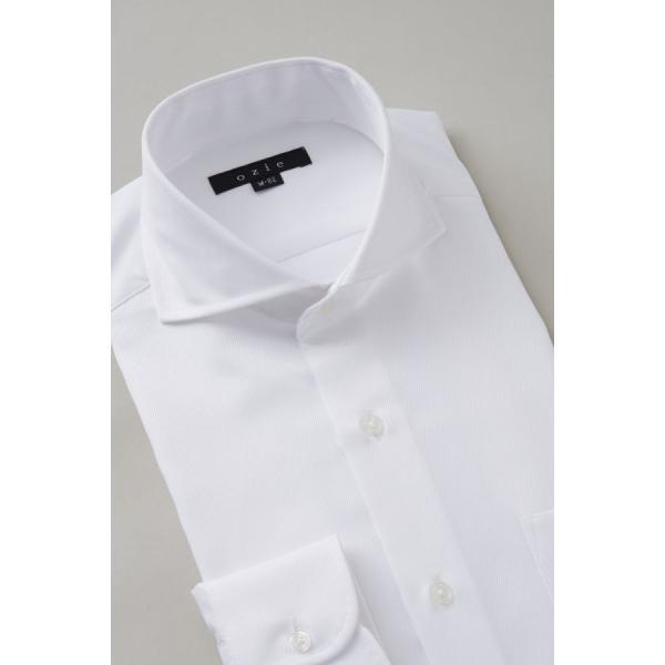 ホリゾンタルカラー ワイシャツ クールマックス スーパードライ スリム ブルー 青 カッタウェイ メンズ 長袖 形態安定 ドレスシャツ ビジネスシャツ おしゃれ|ozie|04
