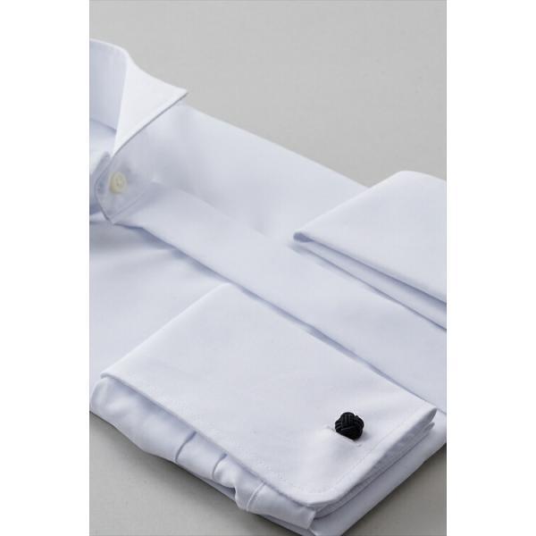 cd7d98ecd5cac ... ダブルカフス ワイシャツ ウィングカラー ひだ無し メンズ 長袖 白 スリム 綿100% 比翼仕立て ...