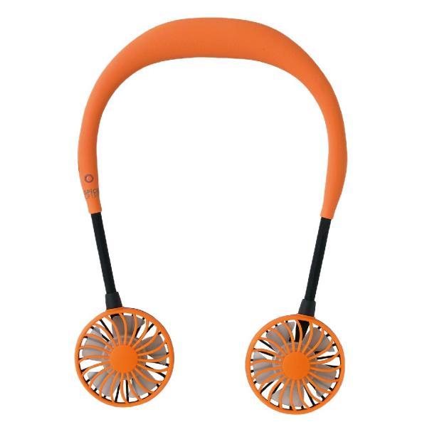 WFan ダブルファン正規品 ダブルで涼しいハンズフリー扇風機 ミニ扇風 扇風機 ポータブル扇風機 首掛け扇風機 USB扇風機  オレンジ