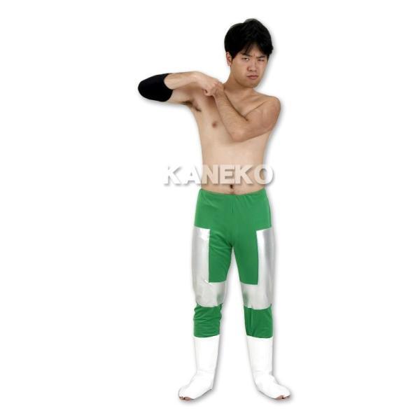 三沢 コスプレ プロレス 2代目タイガーマスク コスチューム レスリング パンツ 衣装 格闘技/ エメラルドロングパンツ(サポーター付き) (A-1882_016924) p-kaneko 02
