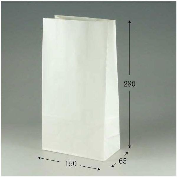 角底袋 ファンシーバッグ S3 片艶白無地 (巾150 マチ65 高さ280 紙質片艶60g/m2 1枚重さ8.8g) 1500枚