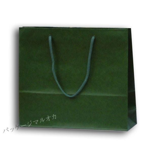 紙手提げ袋 カラーチャームバッグ 3才 グリーン 底ボール付 (巾330 マチ100 高さ290 アクリル紐) 200枚