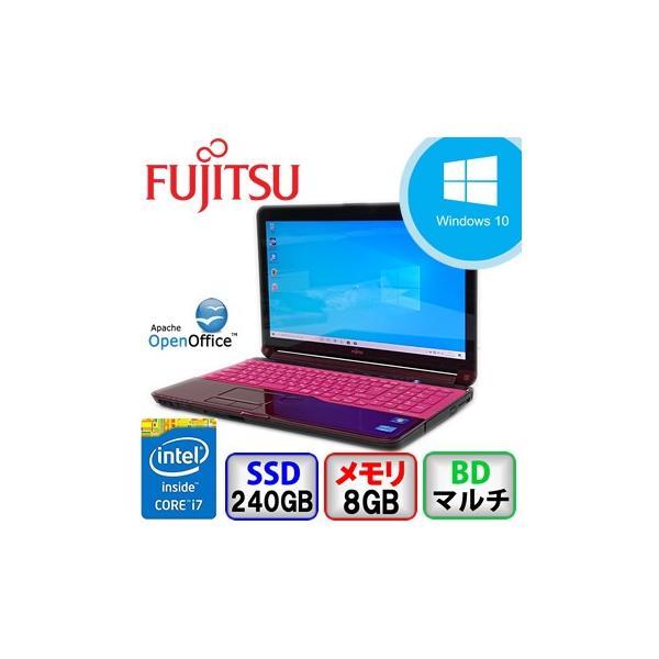 第2世代 i7 富士通 LIFEBOOK AH77/G Webカメラ Bluetooth  Windows 10 Home 64bit Core i7 2.2GHz メモリ8GB 新品SSD240GB BDマルチ B1911N001|p-pal