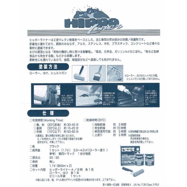 荷台用防錆 HIPPO LINER(ヒッポーライナー) 1.7Lセット (黒) 塗料 p-recipe 03