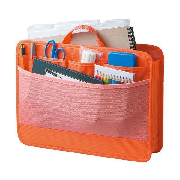 (まとめ)リヒトラブ SMART FITbright label スタンドポケット (ヨコ型) A4 オレンジ A-7664-4 1個〔×2セット〕