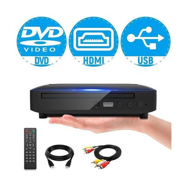 ミニDVDプレーヤー1080PサポートDVD/CD 生専用モデルHDMI端子搭載CPRM対応USBAV/HDMIケーブルが付属し