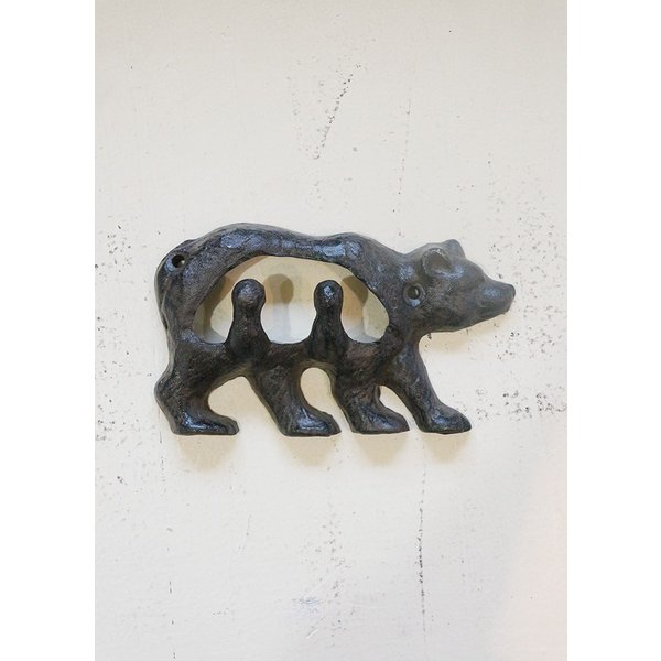 アイアンフック くま ネジ2本付 アンティーク 熊 bear iron DIY|paint-color-plaza