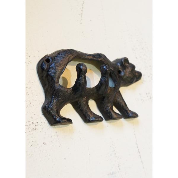 アイアンフック くま ネジ2本付 アンティーク 熊 bear iron DIY|paint-color-plaza|02