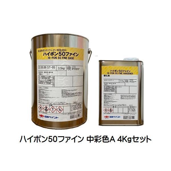 ニッペ ハイポン50ファイン 日本塗料工業会濃彩色(赤系※重防ランク) 16Kgセット【2液 油性 錆止め 日本ペイント】