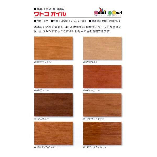 ワトコオイル カラーオイル ミディアムウォルナット W-12 木材専用オイルフィニッシュ 3.6L【WATCO】|paintandtool|02