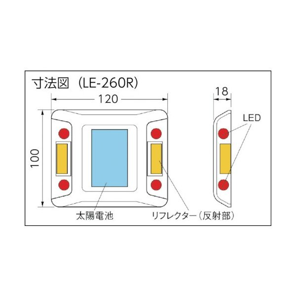 キャットアイ ルミナスアイ・マイティ ソーラー式点滅  片面 赤(LE260R2)|paintandtool|02