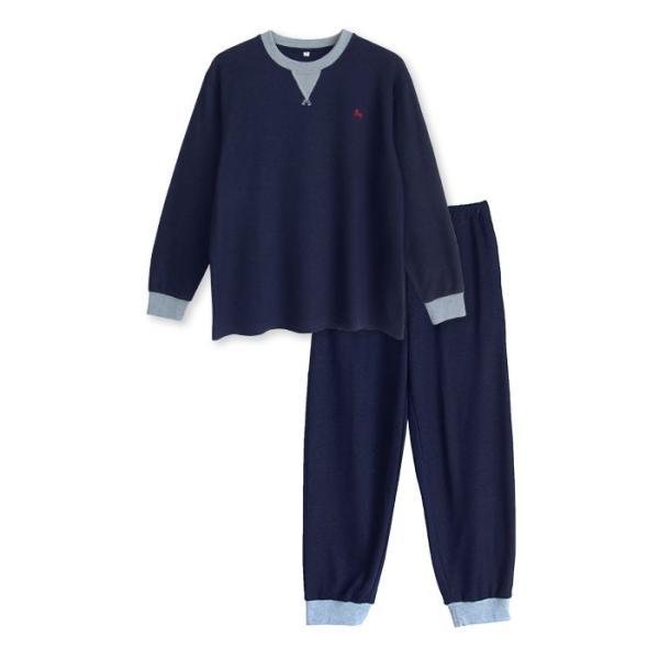 パジャマ メンズ 春 秋 長袖 内側が綿100% スウェット セットアップ ルームウェア リブ仕様 ワンポイント刺繍 M L LL|pajama|11