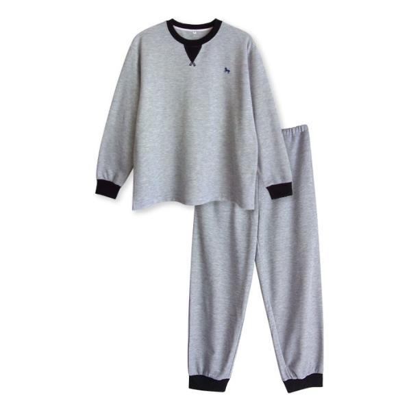 パジャマ メンズ 春 秋 長袖 内側が綿100% スウェット セットアップ ルームウェア リブ仕様 ワンポイント刺繍 M L LL|pajama|12