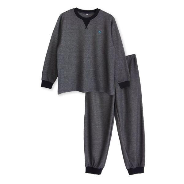 パジャマ メンズ 春 秋 長袖 内側が綿100% スウェット セットアップ ルームウェア リブ仕様 ワンポイント刺繍 M L LL|pajama|13