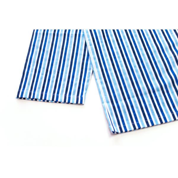 メンズ パジャマ 綿100% 春 秋 長袖 綿100% 前開き ストライプ柄 ブルー/グリーン M/L/LL おそろい|pajama|14