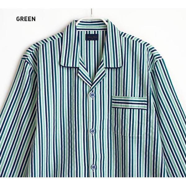 メンズ パジャマ 綿100% 春 秋 長袖 綿100% 前開き ストライプ柄 ブルー/グリーン M/L/LL おそろい|pajama|06