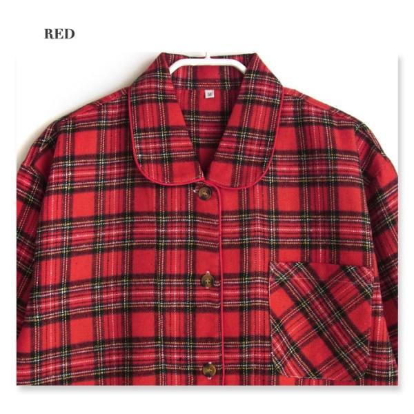 冬 長袖 レディースパジャマ 綿混素材 ネル起毛 チェック柄 前開き シャツタイプ ボタン かわいい 部屋着・ルームウェア 婦人 パジャマ|pajama|03