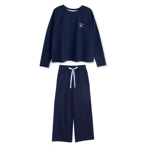 パジャマ レディース 春 秋 長袖 内側が綿100% スウェット セットアップ ルームウェア ワンポイント ハート刺繍 M L LL pajama 11