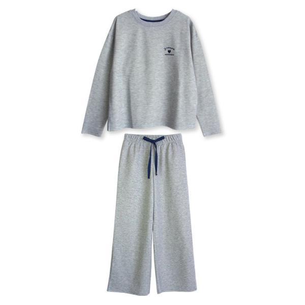 パジャマ レディース 春 秋 長袖 内側が綿100% スウェット セットアップ ルームウェア ワンポイント ハート刺繍 M L LL pajama 12