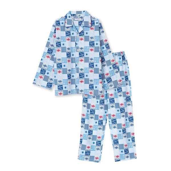 綿100% 春・夏 長袖 男の子 パジャマ ユニオン星柄 さらりとした薄手 ブルー/グレー 100-160cm 前開き シャツ キッズ ジュニア ボーイズ pajama 05