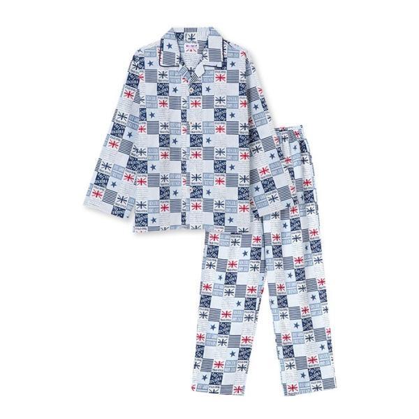 綿100% 春・夏 長袖 男の子 パジャマ ユニオン星柄 さらりとした薄手 ブルー/グレー 100-160cm 前開き シャツ キッズ ジュニア ボーイズ pajama 07