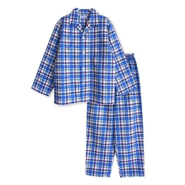 メール便2点で送料無料 パジャマ キッズ 春 秋 長袖 綿100% 子供 前開き 男の子 チェック柄 120-160cm ジュニアおそろい|pajama|11