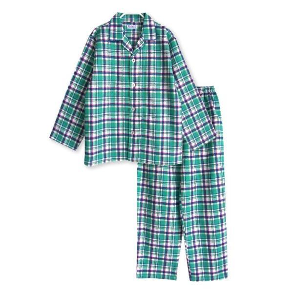 メール便2点で送料無料 パジャマ キッズ 春 秋 長袖 綿100% 子供 前開き 男の子 チェック柄 120-160cm ジュニアおそろい|pajama|12