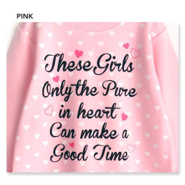 パジャマ キッズ 春 秋 長袖 内側が綿100% 子供 スウェット セットアップ 女の子 ロゴ ハートプリント 100 110 120|pajama|03